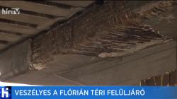 Kiemelt kép a Asztallap nagyságú betondarabok hullottak le a Flórián téri felüljáróról című hírhez